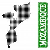 Dotted Map Of Mozambique And Rubber Caption. Vector Green Title Inside Rounded Rectangle And Corrode poster