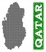 Dotted Map Of Qatar And Rubber Caption. Vector Green Title Inside Rounded Rectangle And Grunge Rubbe poster
