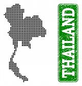 Dotted Map Of Thailand And Scratched Caption. Vector Green Title Inside Rounded Rectangle And Scratc poster