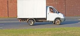 foto of moving van  - Blank white van truck isolated on background - JPG