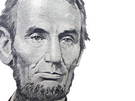 image of two dollar bill  - Portrait of Abraham Lincoln from the American Five dollar bill over a white background - JPG