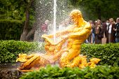 PETERHOF, RUSSIA - JULY 1: Samson - the central fountain palace and park ensemble