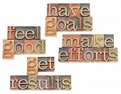 have goals, make efforts, get results, feel good - motivation and success concept - collage of isola