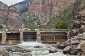 Shoshone Dam on Colorado RIver in Glenwood Canyon diverting water for the oldest hydroelectric plant