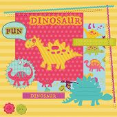 Scrapbook Design Elements - Baby Dinosaur Set - in vector