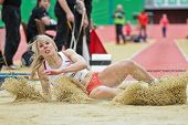 LINZ, AUSTRIA - FEBRUARY 2: Amy Woodman (Great Britain) places 5th in the women's long jump event on