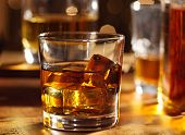 stock photo of whiskey  - Highball whiskey glass at bar close up - JPG