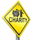 charity road sign clipping path raise money to help donate gifts fund raising give a generous donati