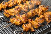 Indian lamb tikka kebabs cooking on hot griddle plate. Shallow DoF, focus on centre.