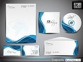 Professional corporate identity kit or business kit with artistic, abstract wave effect for your bus
