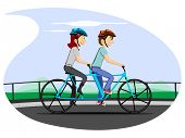 Vector illustration of a cartoon couple in cycling mood on nature background. Please see some similar pictures in my lightboxs: