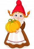 Ilustração da menina de Gnome bonito jardim com abóbora