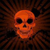 Evil Skull on grange radial background with place for copy/text