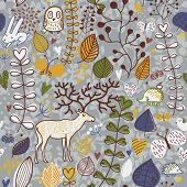 Vector seamless pattern with deer, owl and hedgehog. Seamless pattern can be used for wallpaper, pat