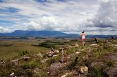 picture of canaima  - Girl tourist with table - JPG