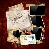 Vintage scrapbook composition with old style distressed postage design elements and antique photo fr
