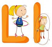 pic of hulahoop  - Illustration of children in a letter of alphabet - JPG