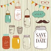Glass Jars, frames and cute seamless backgrounds. Ideal for wedding invitations and Save the Date in