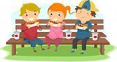 Illustration of Kids Eating Hotdogs Together