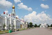 Kremlin square with Alexander Nevsky church, Belfry Sophia cathedral, Holy Resurrection cathedral in Vologda, Russia