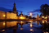 puddle on Kremlin square in night with Alexander Nevsky Church, Belfry Sophia Cathedral, Holy Resurr