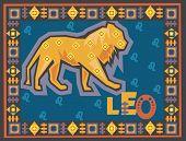 Stylized Zodiac backgrounds series. Leo sign with symbols on a background.