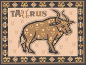 Stylized Zodiac backgrounds series. Taurus sign with symbols on a background.