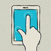 Abstract hand touching digital tablet. Vector illustration, EPS10