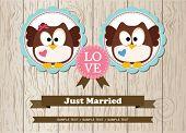 Cute owls just married wedding invitation card