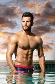 stock photo of buff  - Fashion portrait of a very muscular sexy man - JPG