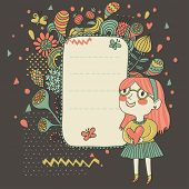 Happy lifestyle background. Little girl celebrating. Cartoon floral background for nice cards