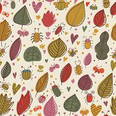 In the forest. Ni?e insects and flowers. Floral seamless pattern in vector