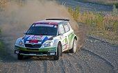 Andreas Mikkelsen in his Skoda Fabia S2000 Rally