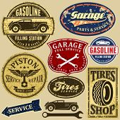 pic of gasoline station  - Vintage automotive labels and signs set - JPG