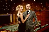 picture of cinema auditorium  - Couple in theatre interior - JPG