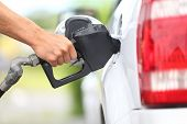 stock photo of motor vehicles  - Pumping gas at gas pump - JPG