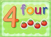 Illustrierte-Flash-Karte zeigt die Zahl 4