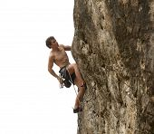 Young climber on a vertical outdoor wall isolated on a white background