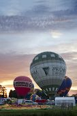 NORTHAMPTON, ENGLAND - AUGUST 18: Hot Air Balloons launching in the early morning at the Northampton