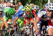 BARCELONA - AUG 26: Liquigas Cannondale Italian cyclist Cristiano Salerno(C) rides with the pack dur