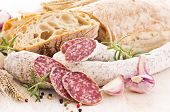 meal with salami and bread