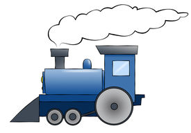 stock photo of chug  - A blue cartoon train chugging along with room for text on the train or in the smoke - JPG