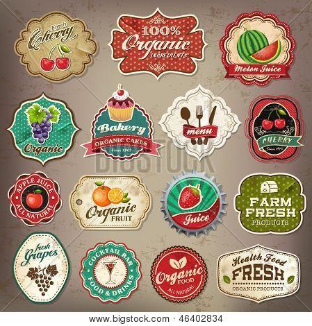 Постер, плакат: Винтаж ретро гранж ресторан и органические продукты питания этикетки символы и старые документы элементы коллекции, холст на подрамнике