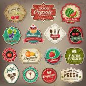 stock photo of plating  - Vintage retro grunge restaurant and organic food labels - JPG