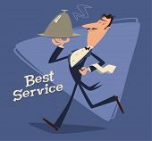 Waiter serving. Retro style vector illustration