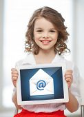 picture of little girl with tablet pc and envelope icon