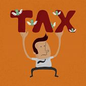 business man pinned down by heavy tax word
