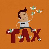 Business man jumping over the tax word