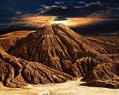 Fantastic desert mountain landscape with the night sky