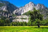 Beautiful Yosemite Falls in Yosemite National Park,California